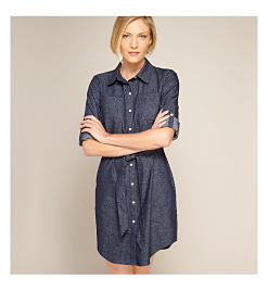 model in denim shirt dress