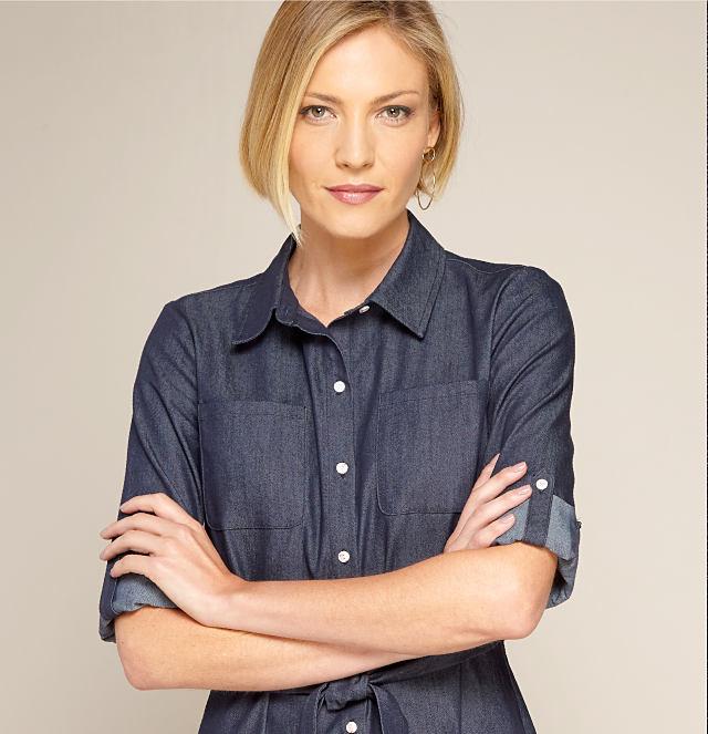 model in denim shirt dress