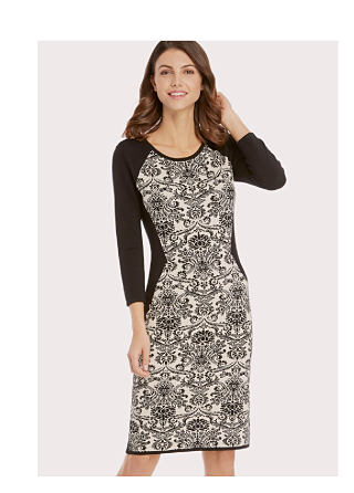 model in black & white damask print dress