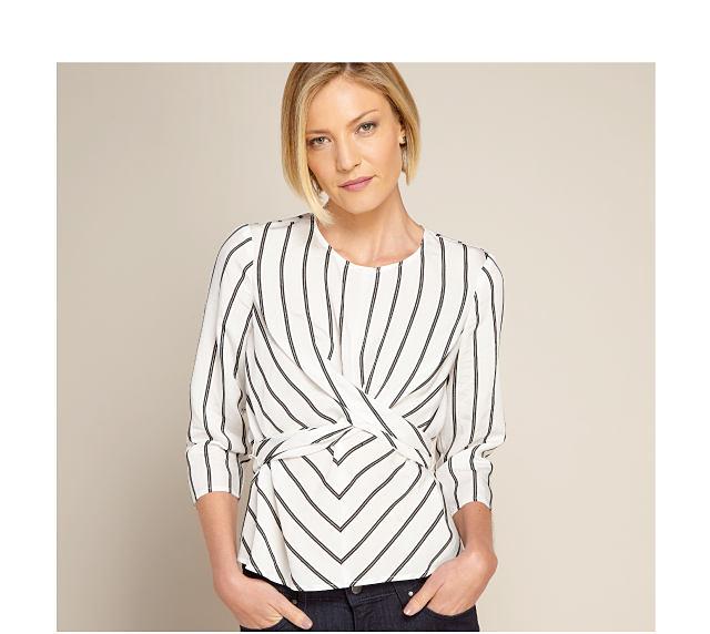 model in striped top