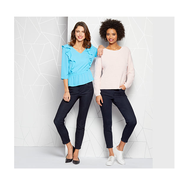 Model in blue top, dark pants. Model in white top, dark pants.