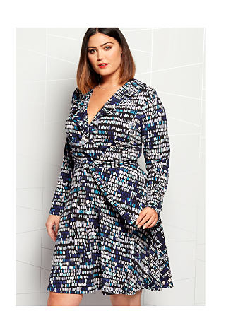 model in printed wrap dress
