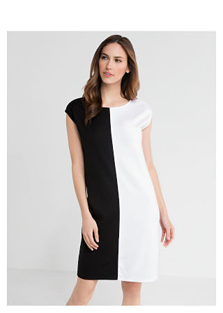 woman in black and white dress