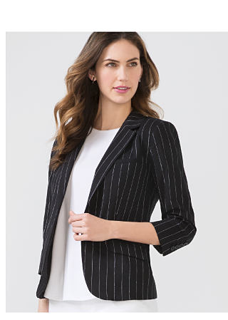 Woman in striped suit jacket
