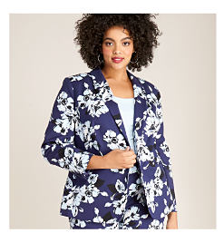 model in blue floral print jacket