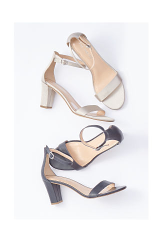 a pair of gold block heel sandals & a pair of black block heel sandals