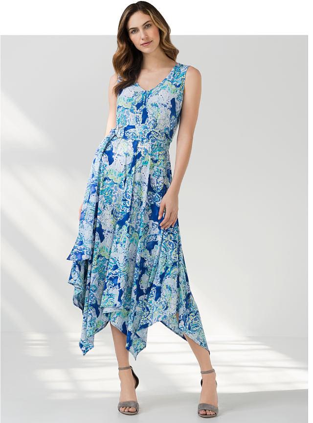 woman wearing sea themed dress
