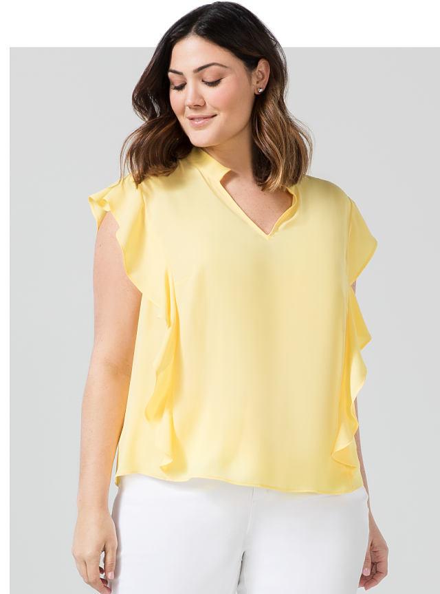 woman wearing yellow top