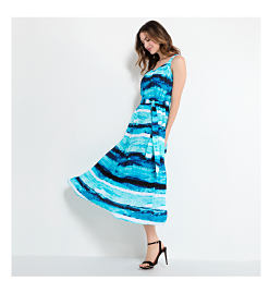 Woman wearing striped dress