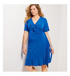 ea964da393e67 White wrap dress with red, blue & purple floral print. SHOP DRESSES