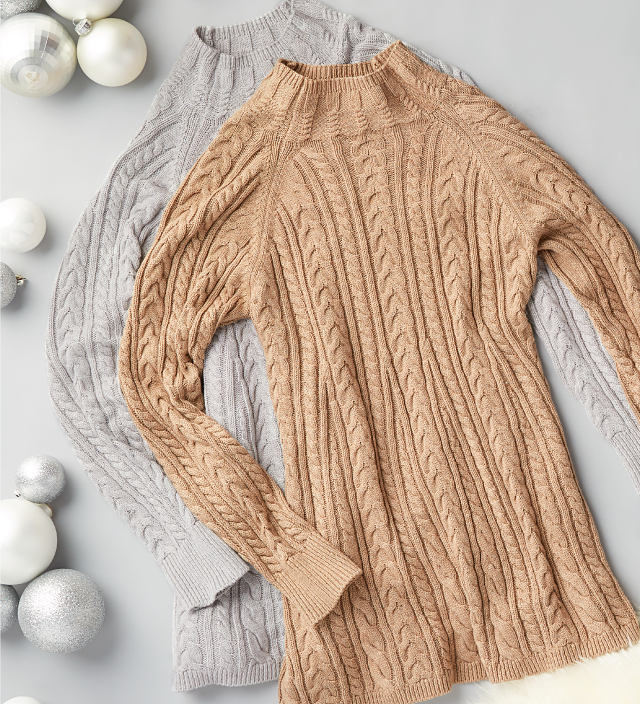 One grey and one tan cable knit sweater