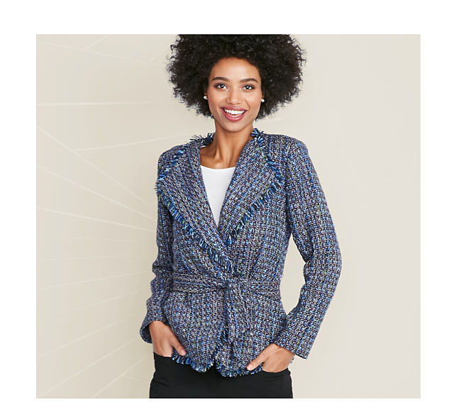 model in blue tweed jacket