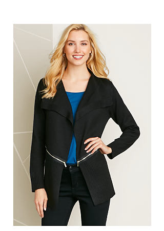 Model in blue top, black jacket with zipper detail, and black pants. These just in. Add a little zip to your wardrobe. Shop new arrivals.