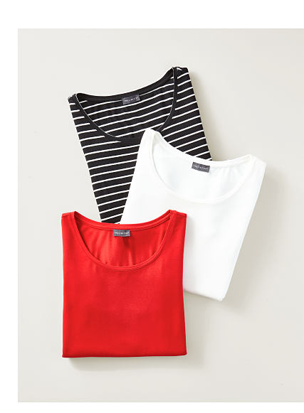 One striped, one white, and one red top