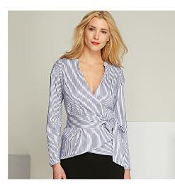 woman wearing striped wrap top