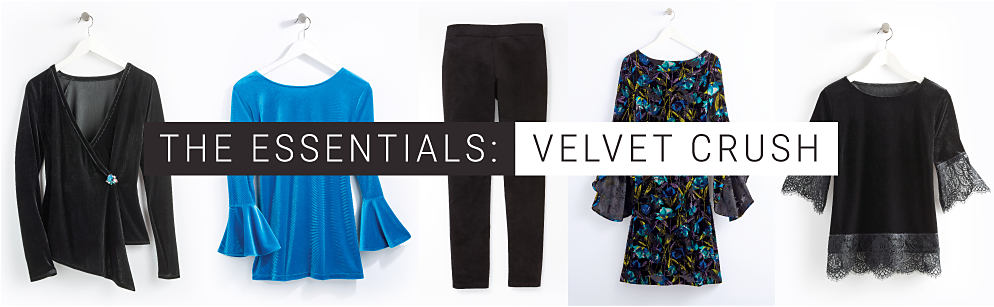 A black velvet top, a blue velvet top with bell sleeves, a black velvet pant, a navy velvet dress, and a black velvet top with lace details on the sleeves and bottom hem.  The Essentials: Velvet Crush