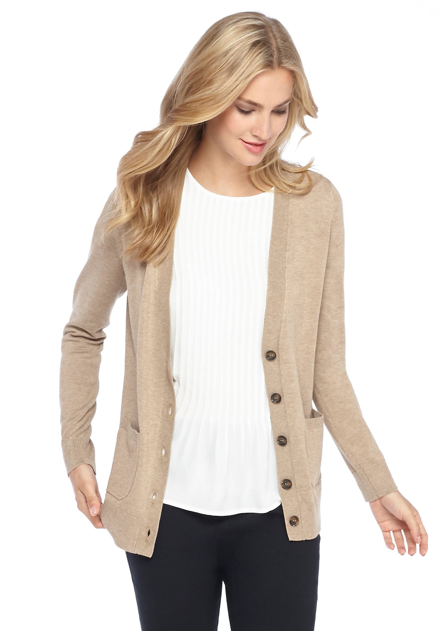 Long-Sleeve V-Neck Boyfriend Cardigan | THE LIMITED