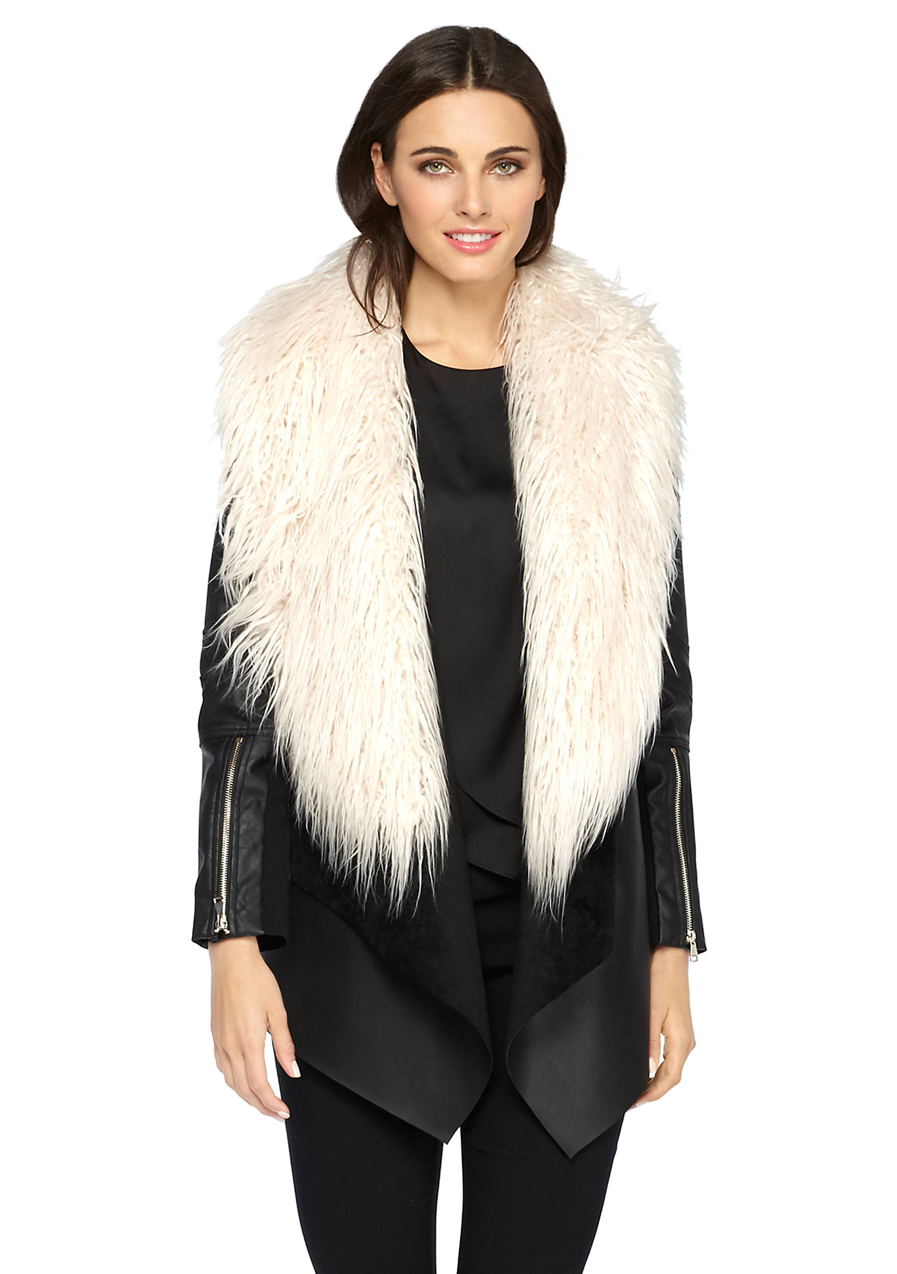 Faux Fur Faux Leather Jacket | THE LIMITED
